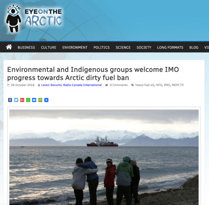 Environmental and Indigenous groups welcome IMO progress towards Arctic dirty fuel ban