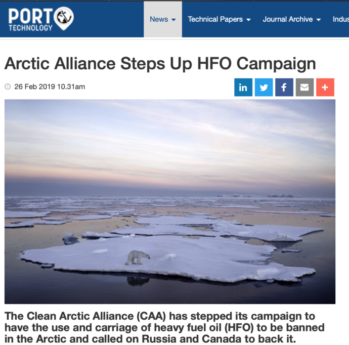 Arctic Alliance Steps Up HFO Campaign