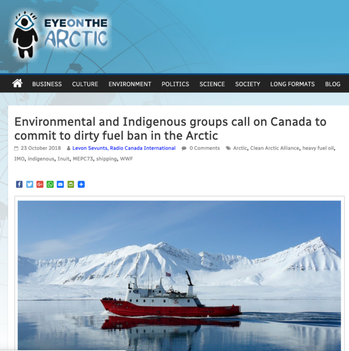 Environmental and Indigenous groups call on Canada to commit to dirty fuel ban in the Arctic