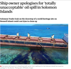 Ship owner apologises for 'totally unacceptable' oil spill in Solomon Islands