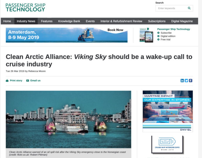 Clean Arctic Alliance: Viking Sky Should be a wake-up call for the cruise industry