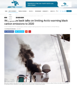IMO pushes back talks on limiting Arctic-warming black carbon emissions to 2020