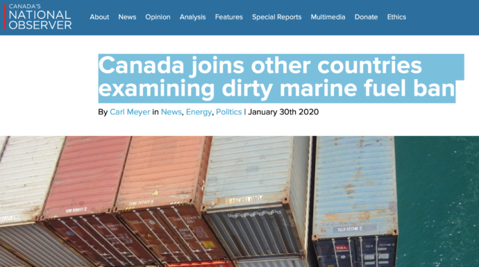 Canada joins other countries examining dirty marine fuel ban