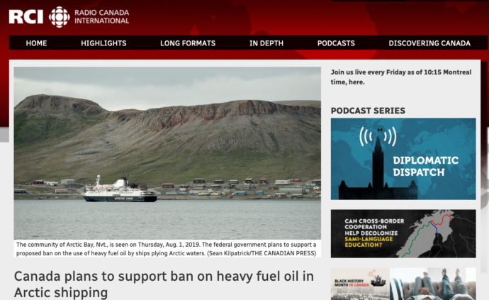 Canada plans to support ban on heavy fuel oil in Arctic shipping