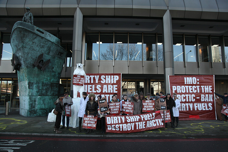 Protest Against heavy fuel oil use in the Arctic oustide the International Maritime Organisation, London, February 2020