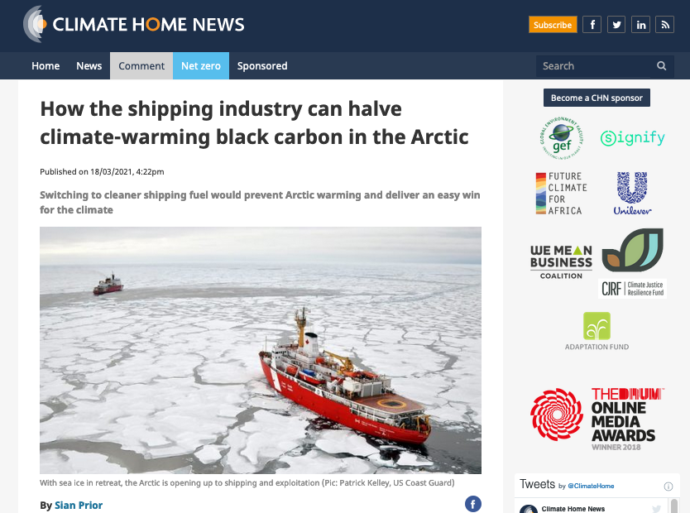 Climate Home News: How the shipping industry can halve climate-warming black carbon in the Arctic