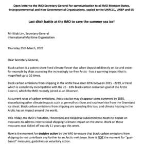 Letter to IMO Sec General: Last ditch battle at the IMO to save the summer sea ice!