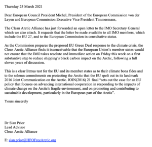 Letter to European Council President Michel, President of the European Commission von der Leyen and European Commission Executive Vice President Timmermans.