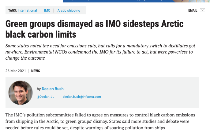 Green groups dismayed as IMO sidesteps Arctic black carbon limits