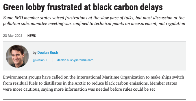 Lloyds List, PP48: Green lobby frustrated at black carbon delays