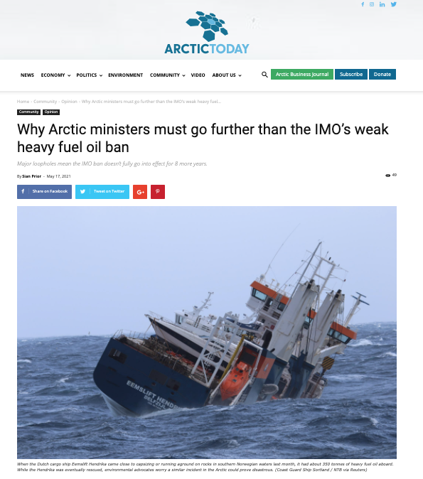 Why Arctic ministers must go further than the IMO's weak heavy fuel oil ban